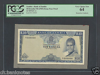 Zambia 5 Kwacha ND(1969) P12 Essay Face Proof Specimen Choice Uncirculated