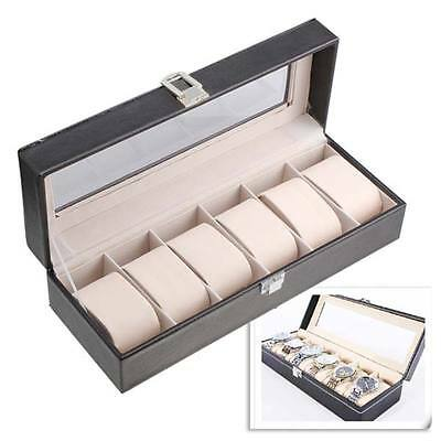 6 Slots Leather Case Display Storage Box Organizer Windowed For Wrist Watches