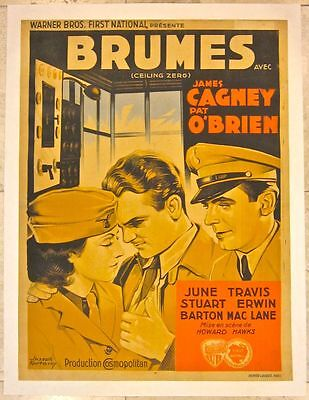 Reduced!!  Ceiling Zero - 1936 French Lb Poster -  Rare James Cagney Art!