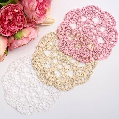 Crochet doilies white , cream and pink 14-15cm for millinery and crafts