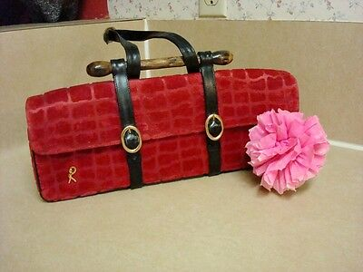 Roberta Di Camerino Large Red Velvet Stylish Handbag!!