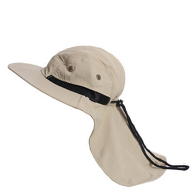 New Boonie Fishing Camping Outdoor Neck Cover Bucket Sun Flap Hat Bush Cap Khaki