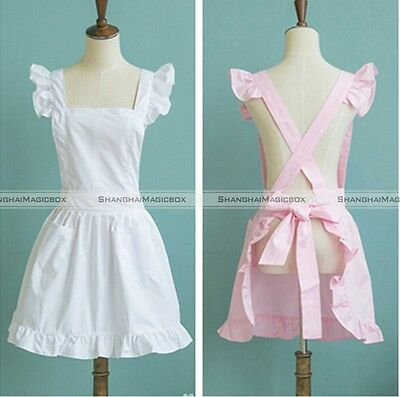 Pink White Full  Apron Lace Victorian Maid Fancy Dress Party