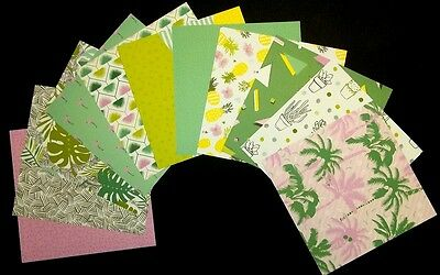 """*TROPICAL OASIS* Colourful Scrapbooking/Cardmaking Papers - 15cm x15cm (6"""" x 6"""")"""