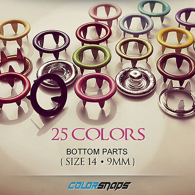 SIZE 14 MEDIUM | Colored Metal No Sew Ring Snaps Popper Fastener Button Gripper