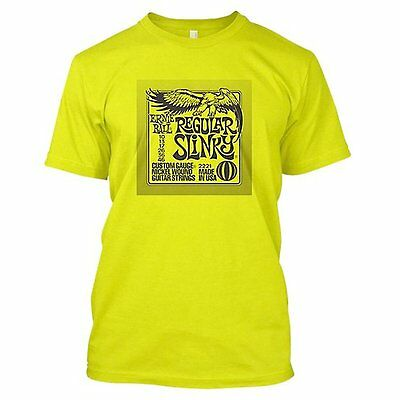 Ernie Ball Regular Slinky T-Shirt - Neon Green | Great Guitarist Gift Idea!