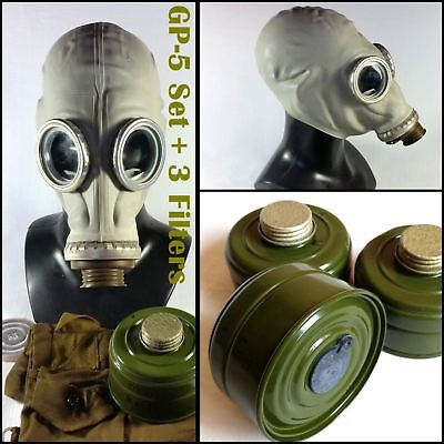 Lot Soviet russian military Gas mask GP-5. Grey rubber Full set. +3 filters