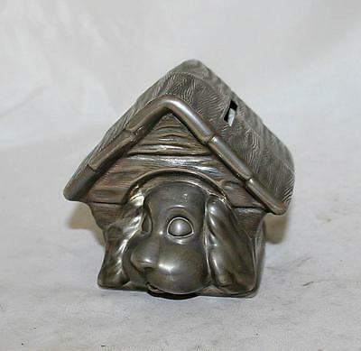 French Vintage Metal Bank Money Box Dog Puppy France circa 1950s