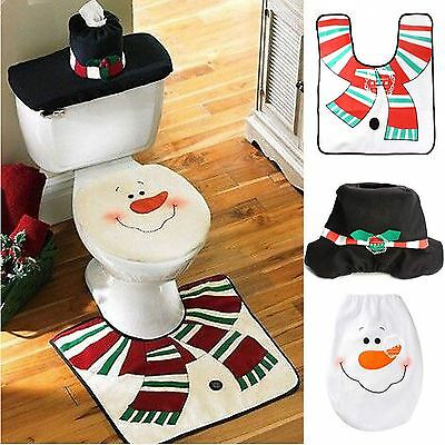 Christmas Decorations Happy Snow Toilet Seat Cover and Rug Bathroom Set Snowman