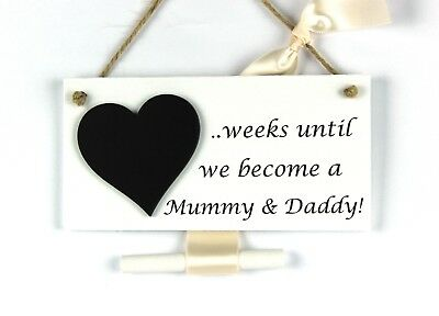 New Baby Pregnancy announcement plaque - countdown until we become Mummy & Daddy