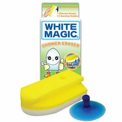 NEW White Magic Shower Eraser Cleaning Sponge with Suction Holder