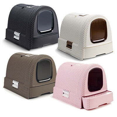 Curver Petlife cat litter box hooded cover litter tray RATTAN LOOK 'Style' • EUR 44,99
