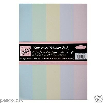 Docrafts Anita's A4 120gsm Plain pastel colours parchment Vellum craft 10 pack