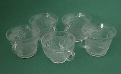 Vintage Set of Five INDIANA GLASS TIARA Clear Glass Punch Snack Cups VGC