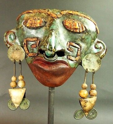 Mask Pre-Columbian Style. Glazed Ceramic. Metal. Central America. Xx.