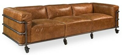"102"" Long Edoardo sofa Couch light vintage finish Brown Leather Handmade 882"