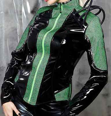 Rave outfit vinyl, green and black women's dancewear!