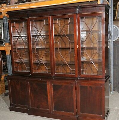 Victorian Breakfront Library Bookcase Flame Mahogany Bookcases