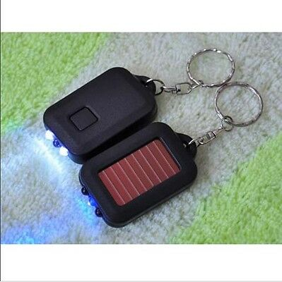 Solar Power Rechargable LED Light Torch Flashlight Key Chain Small Gift Hot New