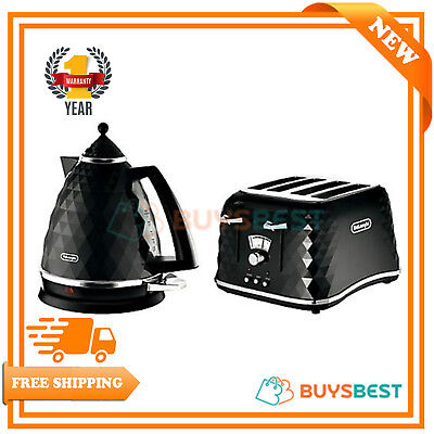 DeLonghi Electric Kettle and Toaster Set Brillante 4 Slice Toaster Kettle Black