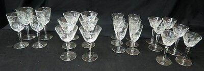 there are 22 etched 6 sided stem goblets in this box lot LIBBEY EMBASSY pattern