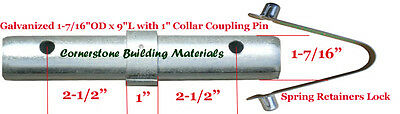 """Two Scaffold Coupling Pin 1-7/16""""OD x 9""""L with 1"""" Collar & Two Spring Retainers"""