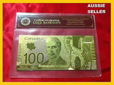 Rare Canada Gold $100 24Kt Banknote Unc Dollar Note 24Kt Gift Free Coa