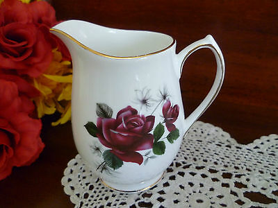Vintage  Elizabethan  Blood Red Rose  English   Cream / Milk Jug