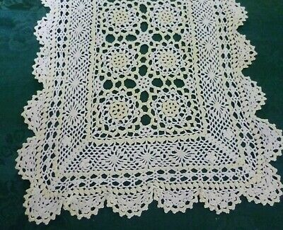 Vintage Crocheted Pale Yellow &  White Doiliey  40Cm X 27Cm