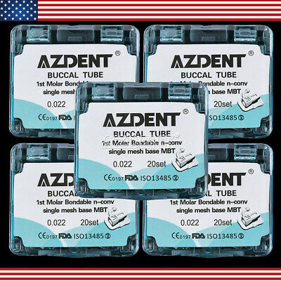 "5x Azdent Dental Bonding Orthodontic Buccal Tube 1st Molar MBT 022"" Single Tube"