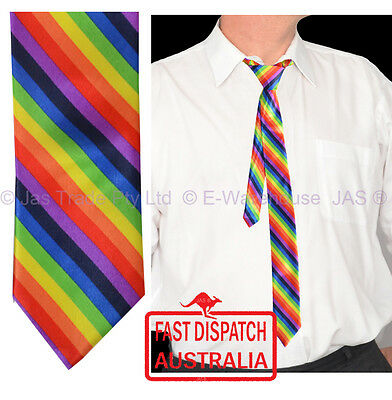Colourful Bright Rainbow Satin Skinny Party Dance Disco Music Costume Neck Tie