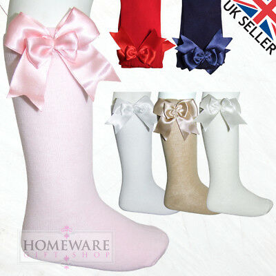 Girls Kids Socks Spanish Satin Double Bow 3/4 High Uk Sizes 0J-5L High Quality