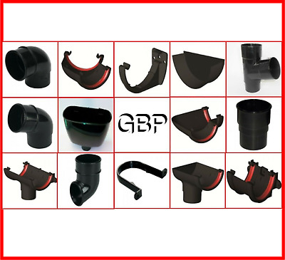 New UPVC Plastic Half Round Black Guttering and Gutter Down Pipe Fittings