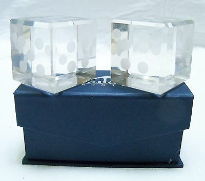 Pair of Small Crystal Dice Paperweights - 1.5 square
