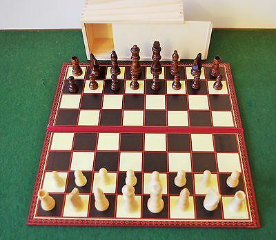 "Wooden Chess Set 3"" king in slide top box.Board NOT included"