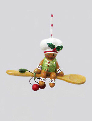 KURT S ADLER HANDPAINTED GINGERBREAD BOY BAKER w/WOODEN SPOON CHRISTMAS ORNAMENT