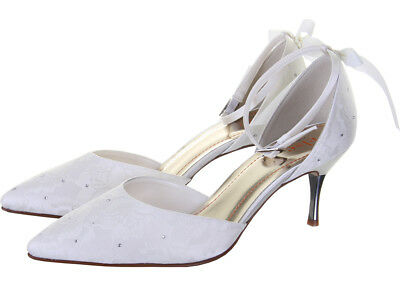 Rainbow Club Fleurie Lace Ivory Court Womens Wedding Shoes UK Size 3-8 RRP55