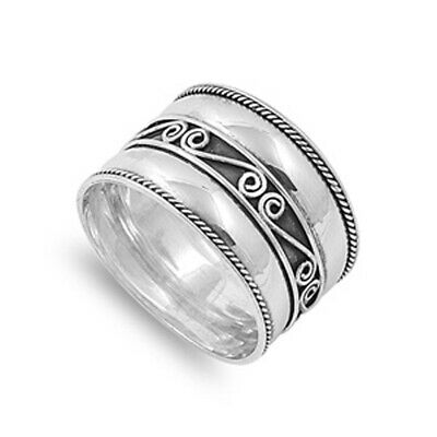 Sterling Silver Woman's Simple Bali Ring Beautiful 925 Band New 15mm Sizes 4-12