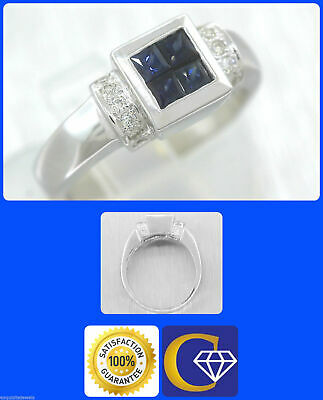Stunning Ladies Solid 14K White Gold 0.82ctw Sapphire Diamond Invisible Set Ring