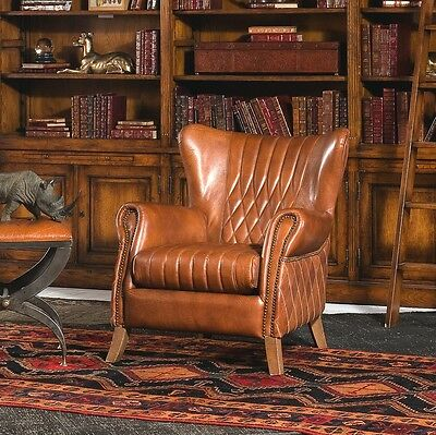 """33"""" L Alceo club arm chair wood frame light brown distressed vintage leather"""