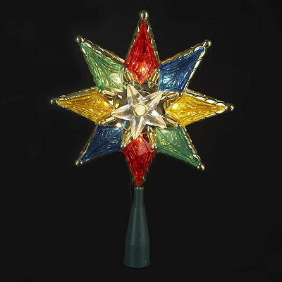 "Kurt Adler 8"" Multi Color 8 Point Star 10-Light Treetop Tree Topper Xmas Decor"