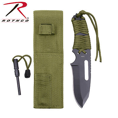 "36743 Rothco Large Olive Drab 8.5"" Paracord Survival Knife With Fire Starter"
