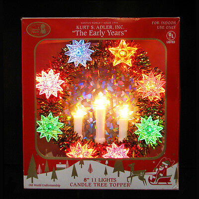 "Kurt S. Adler 8"" Gold/multi Color Early Years 11 Light Candle Tree Topper"