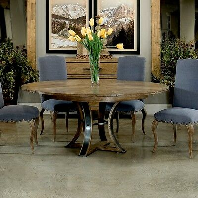 """64"""" Round Enzo extendable Dining Table Solid Oak Wood Textured Iron Handmade"""