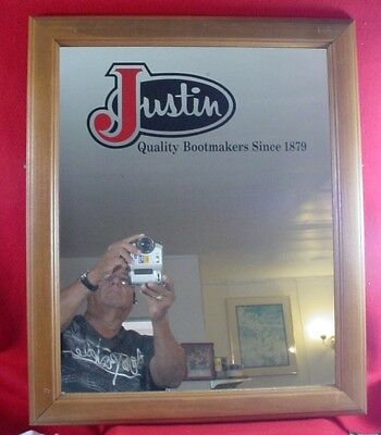 Rare Justin Boots Floor Mirror Advertising From Retail Store