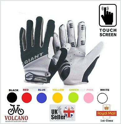 Mens Ladies BMX Cycling Bicycle Mountain Bike Cycle Full Finger Gel GLOVES Mitts