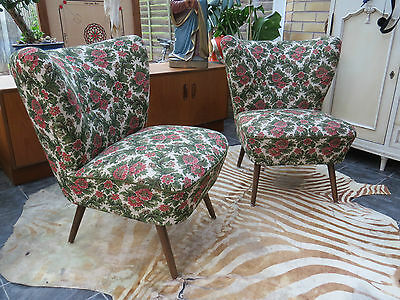 Pair Of Vintage East German Bartholomew Cocktail Chairs C1970 Great Condition