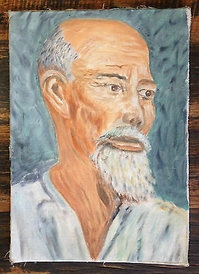 Old vintage Oil painting on board Artist rendition of Ho Chi Minh Vietnam