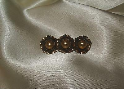 Lovely Antique Victorian Era Brass Flower Brooch With Faux Pearl Centers