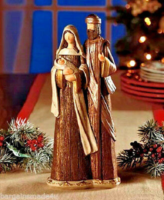 Christmas Nativity Ceramic Sculpture Holy Family Figurine Statue Wood-Look